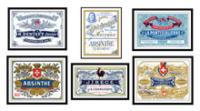 Absinthe Distillery Label Prints, Set of 6