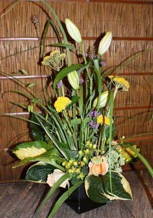 design with hostas flower arrangements using hosta leaves