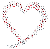 Ovrh450 - Red & Silver Scattered Heart - ON SALE!