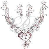 Ovrs4445 - Hearts & Swirls Round Neckline with 2 matching pieces