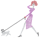 Ovrh2115 - Red Hat Lady Walking Dog - ON SALE!