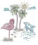 Ovrs3764 - Flamingo and Dolphin Beach Scene