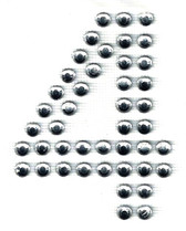 Ovrs3388-4 - 2 Inch Double Row Rhinestone Number 4