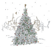 Ovrs1651B - Christmas Tree in the City All Stones