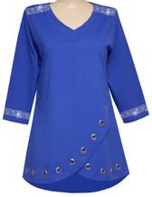 Style # 1718 - Royal w/Design # Ovrs7268 (Neckline & Cuffs)