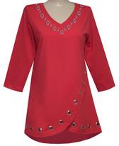 Style # 1718 - Red w/Design # Ovrs7318 (Neckline)