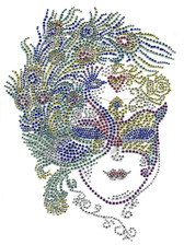 Ovrs2045 - Mardi Gras Mask with Peacock Feathers