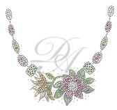 Ovrs4459 - Gems & Flowers Round Neckline
