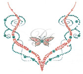 Ovrc1538  - Butterfly with Small Flowers V Neckline