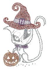 Ovrs7359 - Halloween Cat w/ Witch Hat & Pumpkin