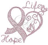 Ovrs7351 - Life Hope Heart w/ Ribbon
