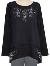 Style # 1720 - Black  w/ Design # Ovrs7371 (Neckline) & Ovrs7372 (Bottom Hem)