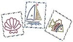Ovrs98 - Shell, Sailboat, & Fish
