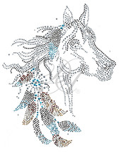 Ovrs8118 - Horse Head w/ Feathers