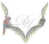 Ovrs548 - Parrot & Palm Leaves V - Neckline