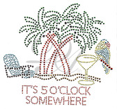 Ovrs1586 - It's 5 O'Clock Somewhere Drink w/ Parrot, Palm Trees, & Chair