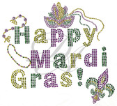 Ovrs5907 - Happy Mardi Gras w/ Mask, Beads, & Fleur-de-Lis