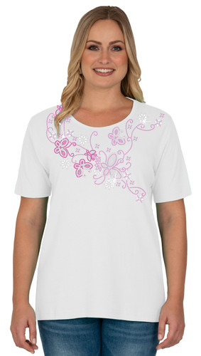 Style # 1703 - White  w/ Design # Ovrs6133B (Pink)