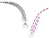 Ovrs879  - Fuschia & Black Curved Line Decor w/ Rhinestones - ON SALE!