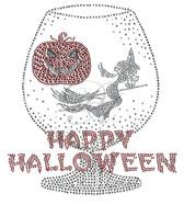 Ovrs7528 - Happy Halloween w/ Witch & Pumpkin Inside Glass