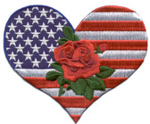 Ov10377s - Small Heart & Rose w/ US Flag