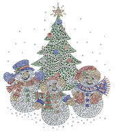 Ovrs7593 - Snowman Family by the Christmas Tree