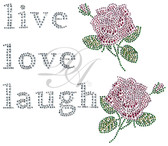 Ovrs7536 - Live, Love, Laugh with 2 Roses