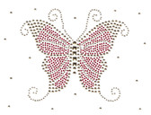 Ovrs1620 - Red Butterfly with Scattered Gold Nailheads