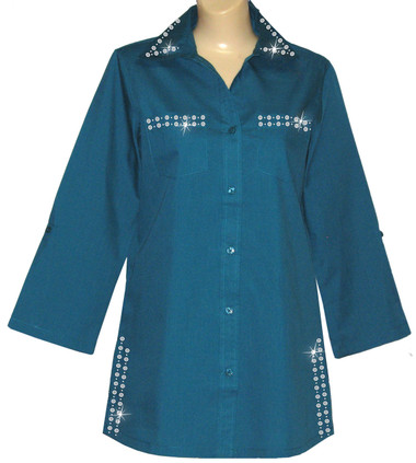 Style # 2004 - Teal w/ Design # OVRD - Silver