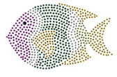 Ovrs128 - Fish in Gold, Silver, Purple and Royal Blue