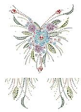 Ovrs2921 - Colorful Flower V Neckline