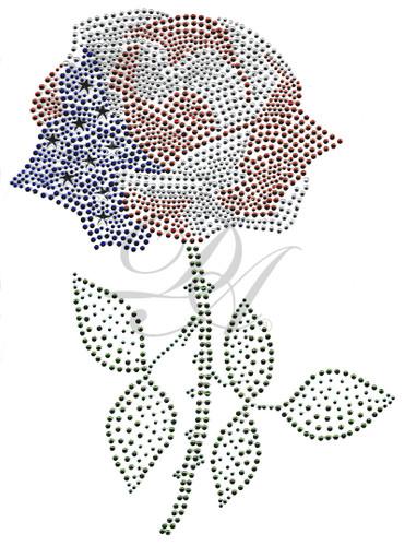 Patriotic Rose w/ Green Stem (Ovr88)