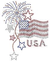 OVR74 USA FLAG/ FIREWORKS/ STARS