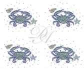 Ovrs9802SB - Small Teal Crab with Starfish and Seashells 4 per page