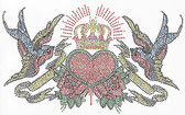 Ovrs2848 - Crowned Heart Surrounded by Birds - ON SALE!