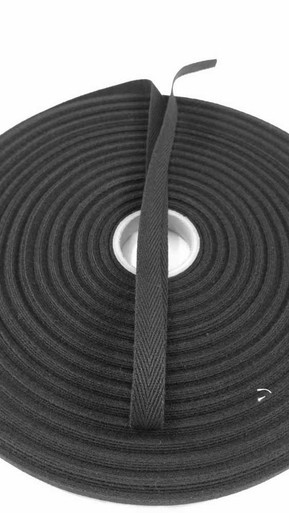 "Heavyweight 1/2"" black twill tape, 72 yard roll"