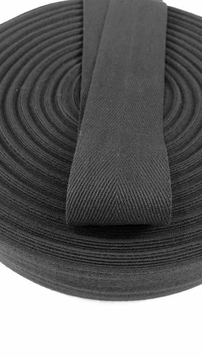 "Heavyweight 2"" black twill tape, 72 yard roll"