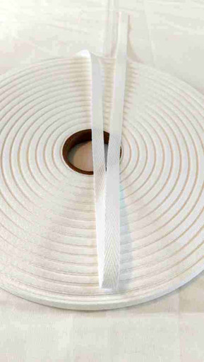 "Heavyweight 3/8"" white twill tape, 72 yard rolls"