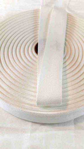 Heavyweight 1.25 inch white twill tape, 72 yard roll