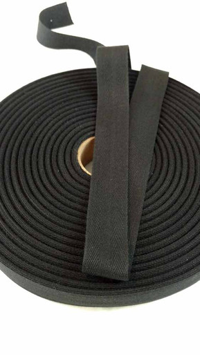 "Lightweight 1"" black twill tape, 72 yard roll"