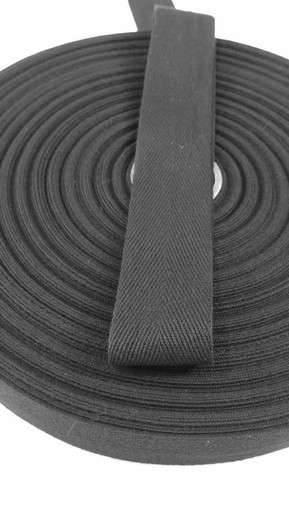 "Heavyweight 1.5"" black twill tape, 72 yard roll"