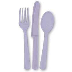 Lavender Assorted Plastic Cutlery 24 Count