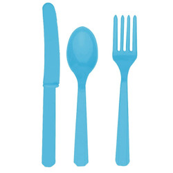 Turquoise Assorted Plastic Cutlery 24 Ct.