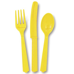Yellow Assorted Cutlery 24 Count