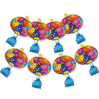 Ready for an adventure with The Backyardigans? Backyardigans paper blowout horns feature a paper medallion with Pablo, Tyrone, Austin, Uniqua and Tasha. 8 count. WARNING: CHOKING HAZARD - Small parts. Not for children under 3 years.