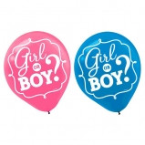 Girl or Boy? Gender Reveal Which Will It Be 6 count latex balloons