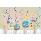 Peppa Pig Value Pack Foil Swirl Decorations 12 pack