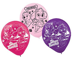 "Girl Pups Paw Patrol 12"" Latex Balloons 6 Count Skye & Everest"