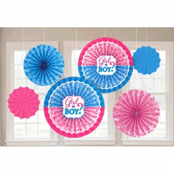 Girl or Boy? Paper Fan Decorations (6 count)