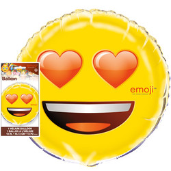 "EMOJI 18"" FOIL BALLOON HEART EYES"